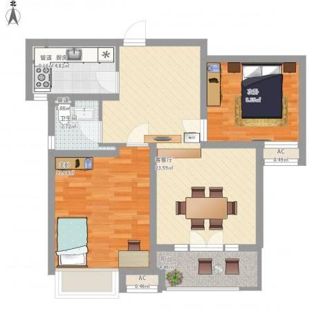 凯迪虹桥晶舍2室1厅1卫1厨88.00㎡户型图