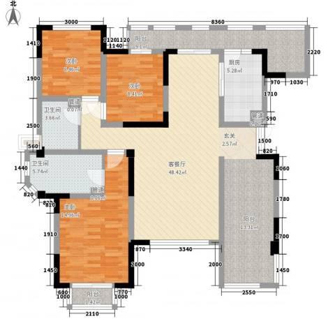中央峰景3室1厅2卫1厨154.00㎡户型图