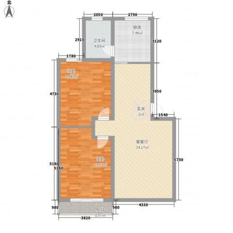 新世纪安居苑2室1厅1卫1厨115.00㎡户型图