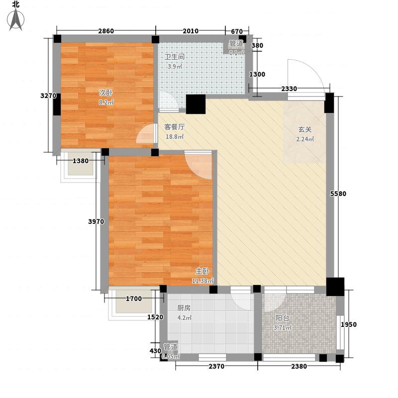 地铁时代常青城2室1厅1卫1厨67.00㎡户型图
