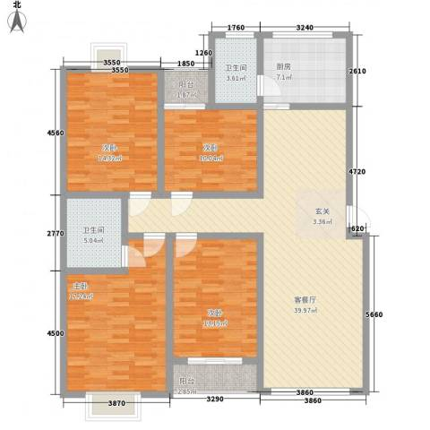 新世纪安居苑4室1厅2卫1厨165.00㎡户型图