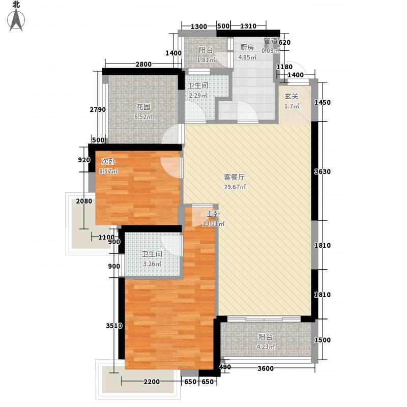 凤岗三正瑞士半山2室1厅2卫1厨108.00㎡户型图