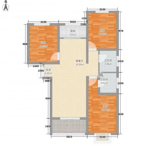 鼎原时代3室1厅2卫1厨83.41㎡户型图