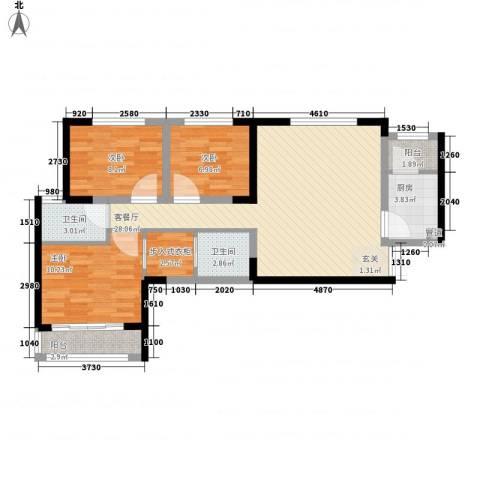 辰宇世纪城3室1厅2卫1厨70.50㎡户型图