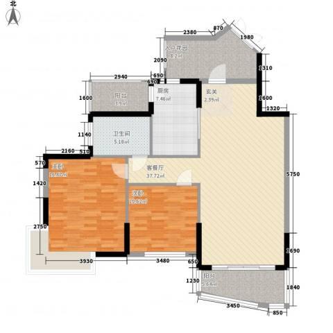 锦江花园2室1厅1卫1厨133.00㎡户型图