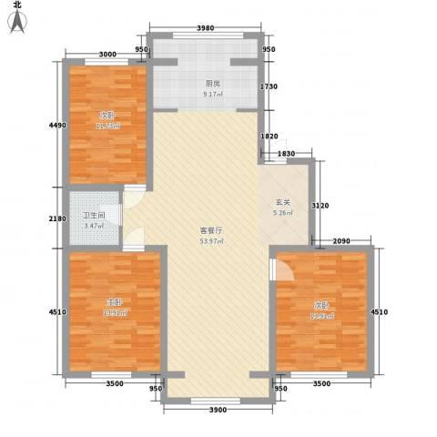 知音园3室1厅1卫0厨136.00㎡户型图
