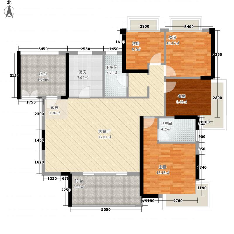 半岛1号五期152.00㎡A4户型4室2厅2卫1厨