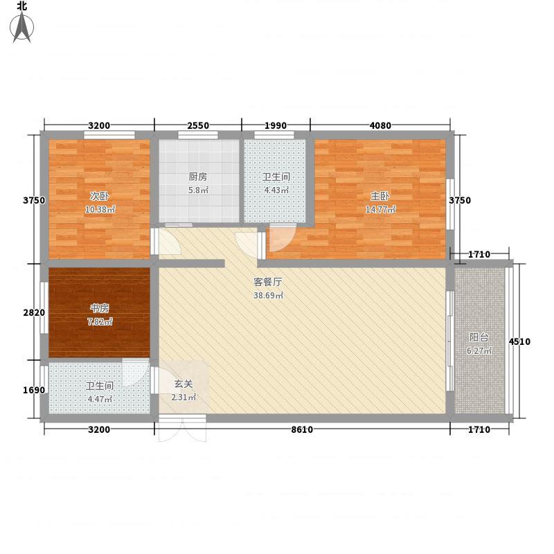 众邦金水湾1号院3室1厅2卫1厨132.00㎡户型图