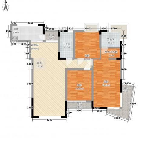 鲁能・三亚湾美丽MALL3室1厅2卫1厨145.00㎡户型图