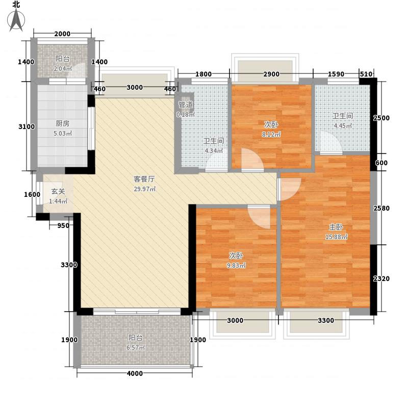 东部现代城3室1厅2卫1厨119.00㎡户型图