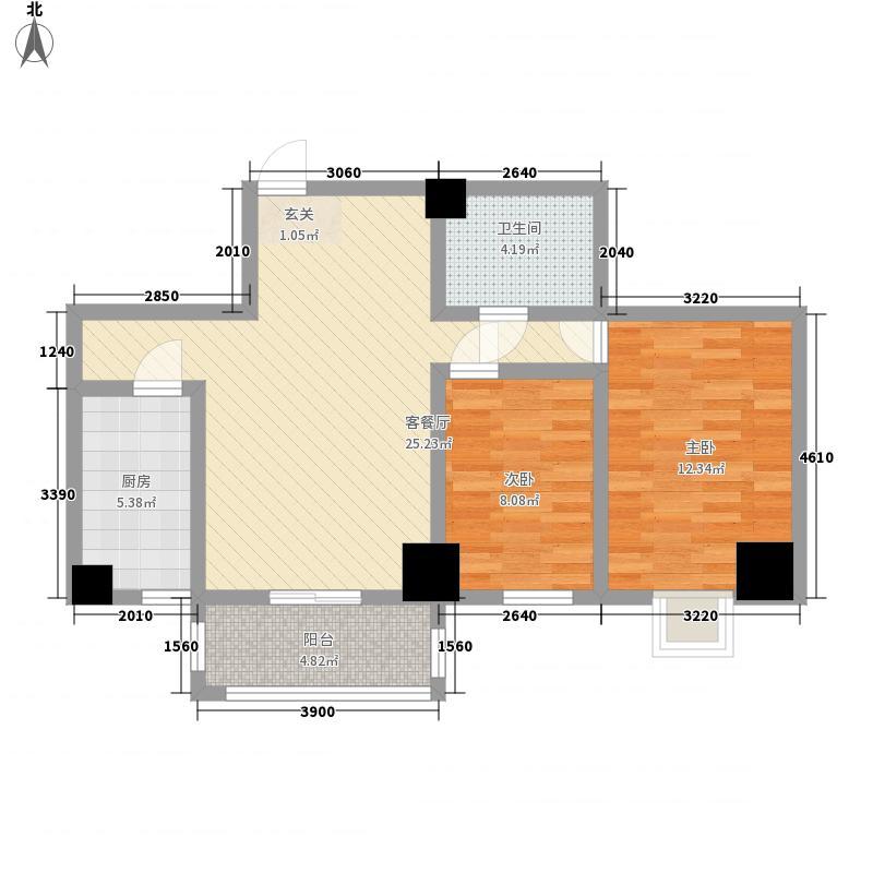 金港新城商住楼2室1厅1卫1厨90.00㎡户型图