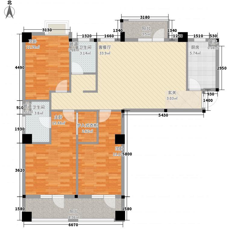 地铁时代常青城3室1厅2卫1厨127.00㎡户型图