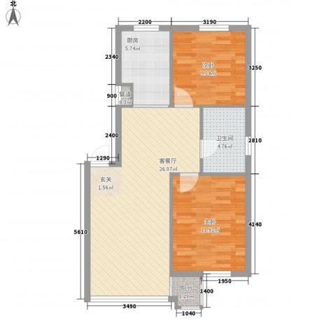 谷和温馨苑2室1厅1卫1厨83.00㎡户型图