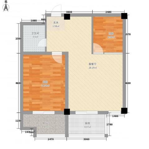 百盛朗庭2室1厅1卫1厨88.00㎡户型图