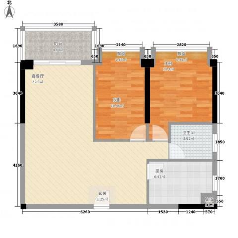 顶好华宅2室1厅1卫1厨98.00㎡户型图