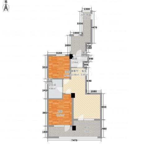 山海公园2室1厅1卫1厨73.78㎡户型图