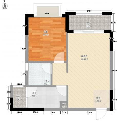 皇庭御珑湾1室1厅1卫1厨54.00㎡户型图