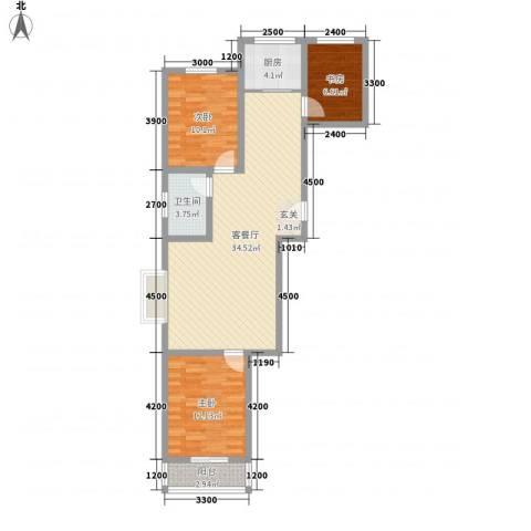 逸宸新境界3室1厅1卫1厨109.00㎡户型图