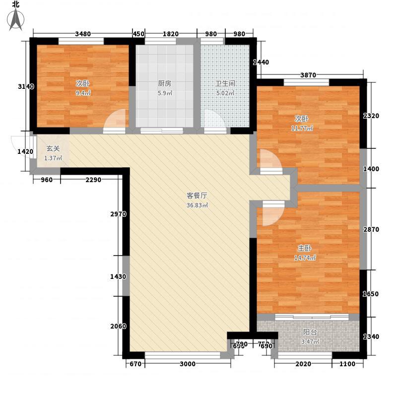 青建一品3室1厅1卫1厨125.00㎡户型图