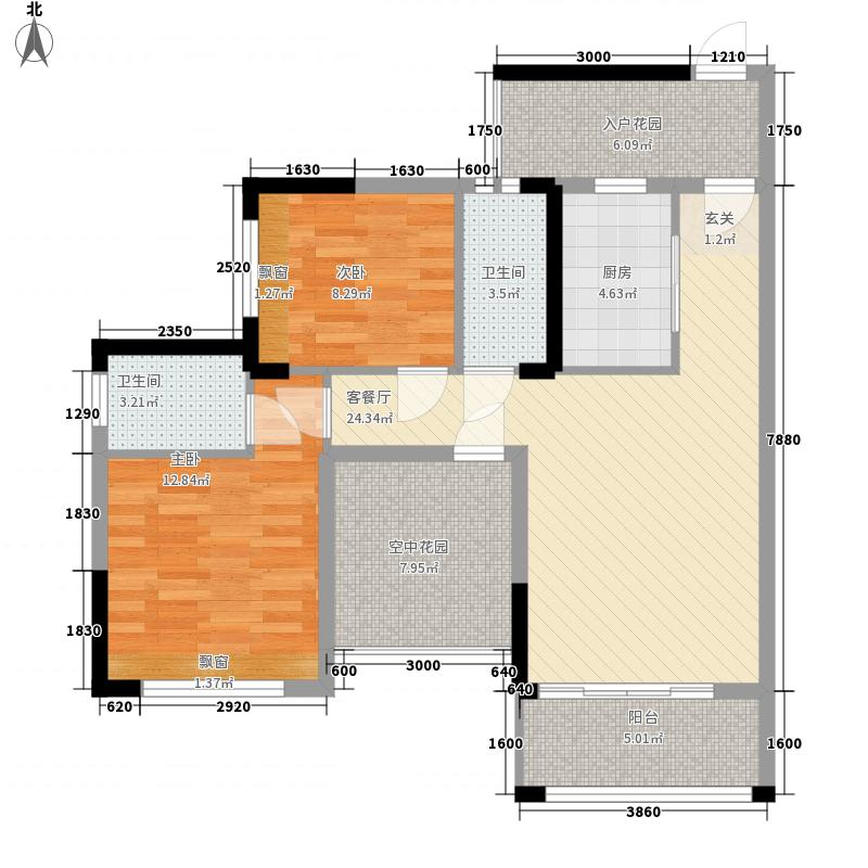 凯南莱弗城2室1厅2卫1厨109.00㎡户型图