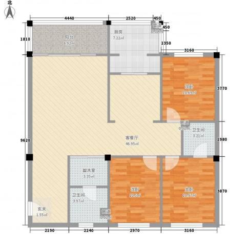 福满园3室1厅2卫1厨144.00㎡户型图