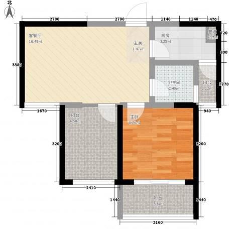 景隆现代城1室1厅1卫1厨62.00㎡户型图