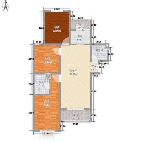 鼎原时代3室1厅2卫1厨90.63㎡户型图