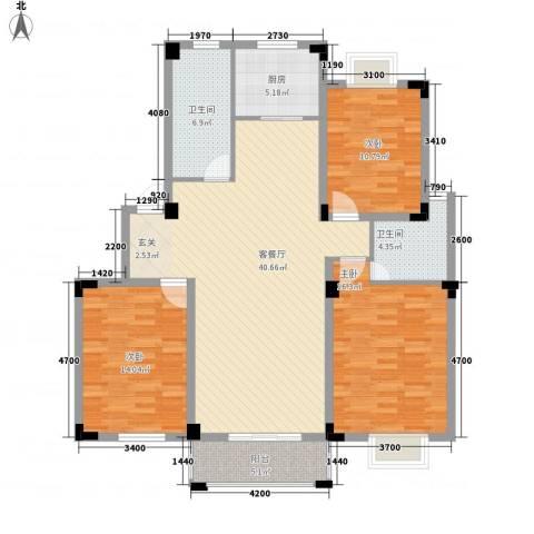 家天下3室1厅2卫1厨122.00㎡户型图