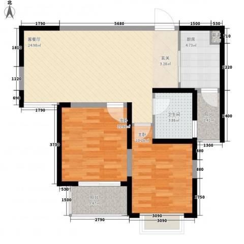 景隆现代城2室1厅1卫1厨84.00㎡户型图