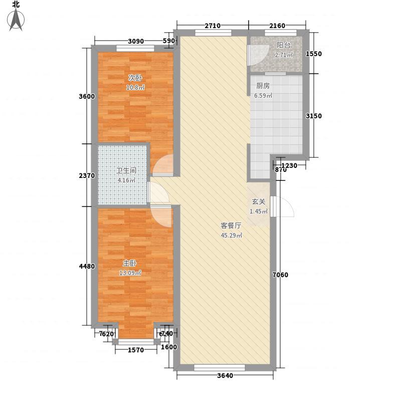 福顺尚景2室1厅1卫0厨106.00㎡户型图