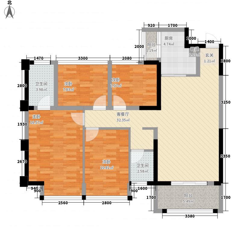 永恒朗晴4室1厅2卫1厨134.00㎡户型图