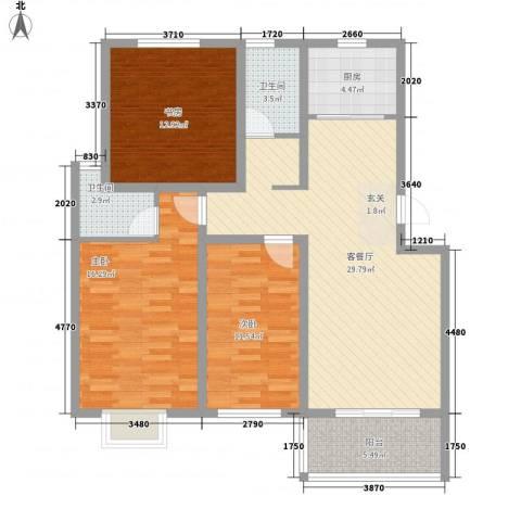 美麟・花样年华3室1厅2卫1厨125.00㎡户型图