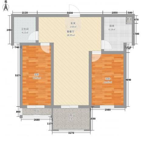 悦西湖・泊悦2室1厅1卫1厨83.00㎡户型图