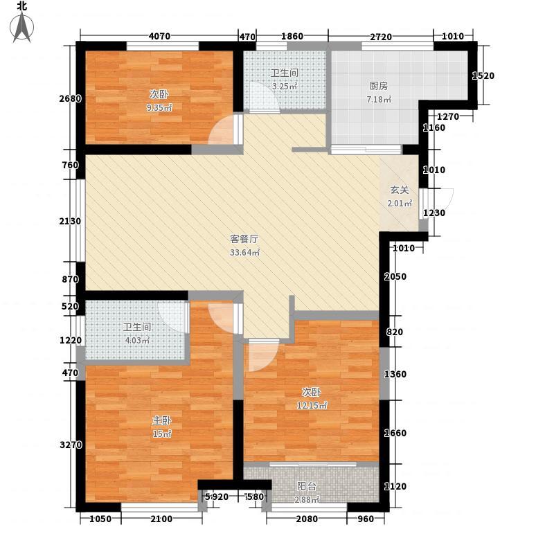 青建一品3室1厅2卫1厨124.00㎡户型图