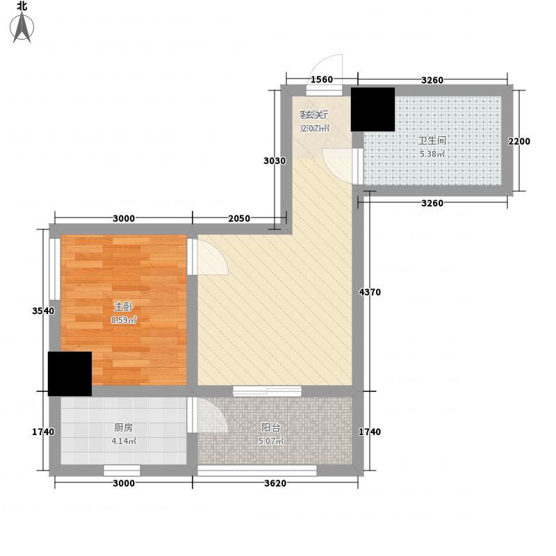 金港新城商住楼1室1厅1卫1厨59.00㎡户型图