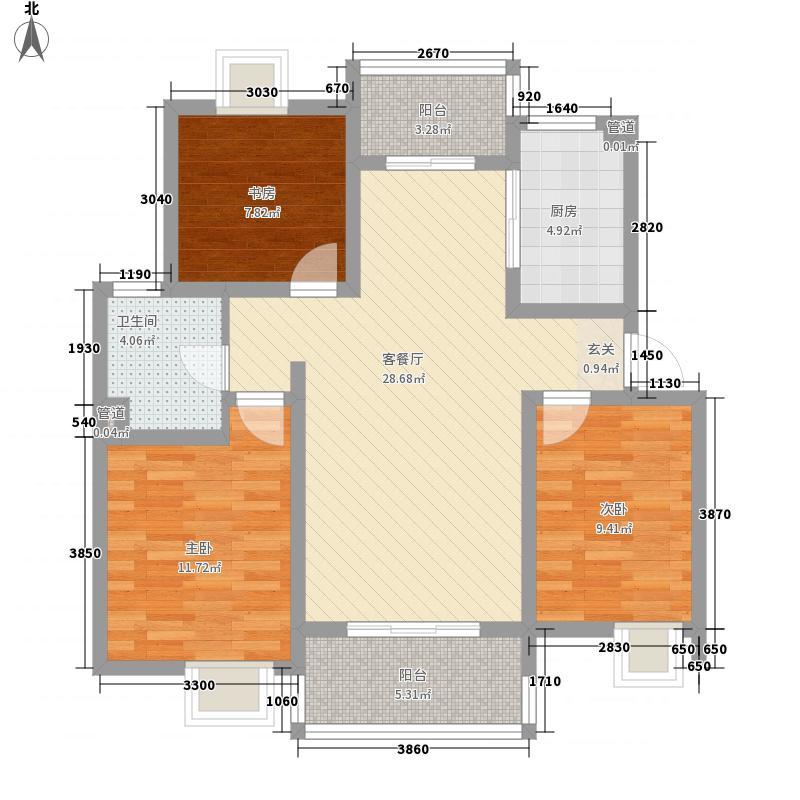 复地公园城邦1.86㎡二期B2户型3室2厅1卫