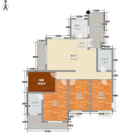 滨湖公园九号4室1厅2卫1厨250.00㎡户型图