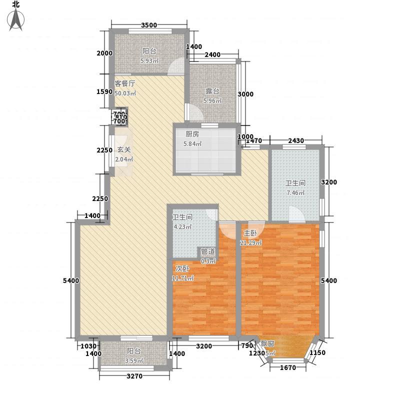 阳光・揽胜133.00㎡五层平面图户型2室2厅2卫