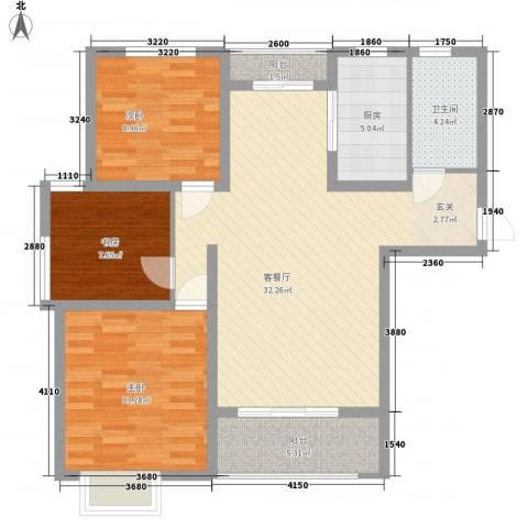 九里景秀3室1厅1卫1厨112.00㎡户型图