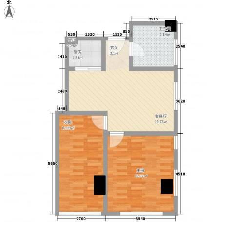 松江置嘉公寓2室1厅1卫1厨81.00㎡户型图
