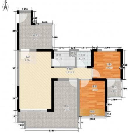 畔山名居・特区青年2室1厅1卫1厨88.00㎡户型图