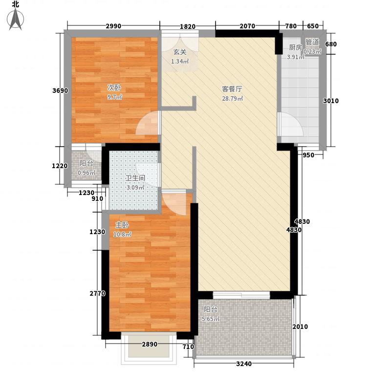 联泰・万泰城8.88㎡4栋C2-3户型2室2厅1卫1厨