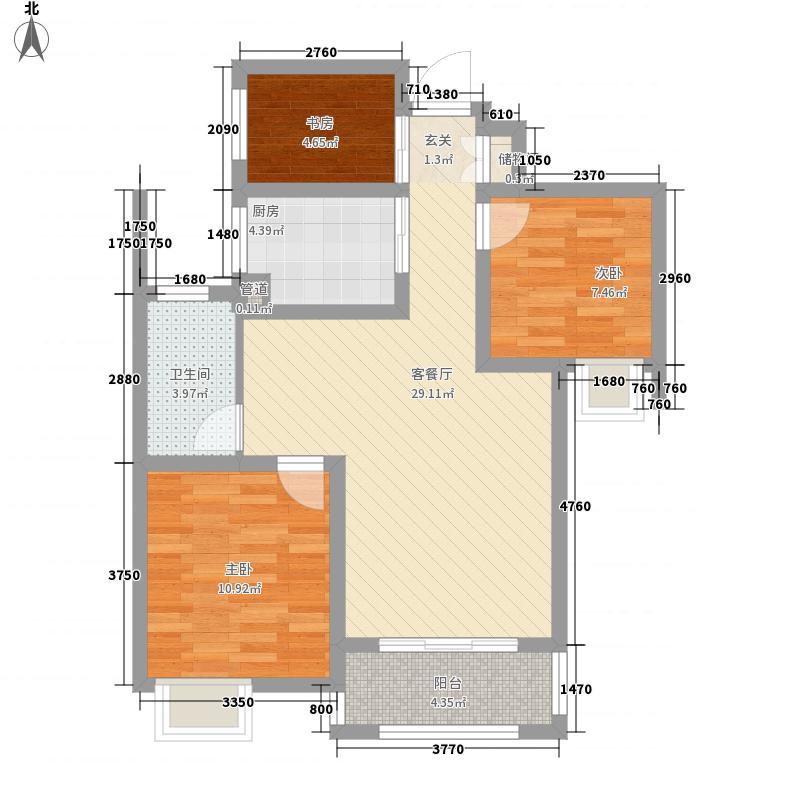 复地公园城邦1.10㎡四期G-B户型3室2厅1卫1厨