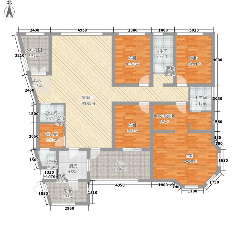 鼎城国翠4室1厅4卫1厨210.00㎡户型图