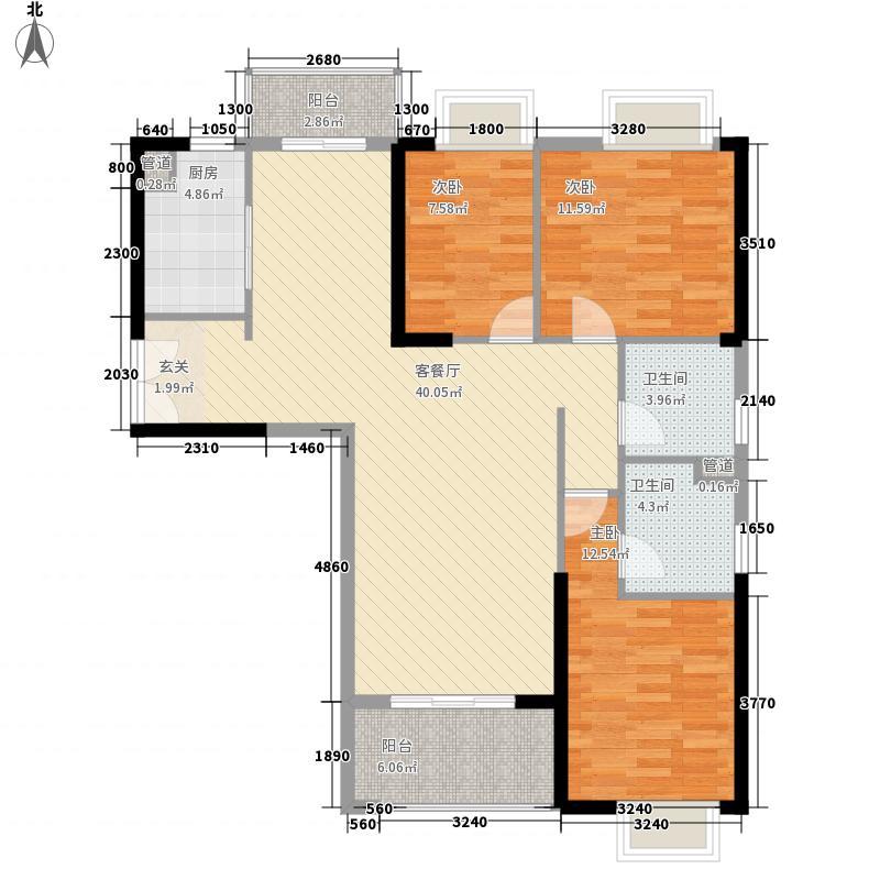 联泰・万泰城3室1厅2卫1厨132.00㎡户型图