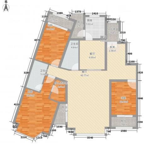 曼哈顿国际庄园3室2厅2卫1厨182.00㎡户型图