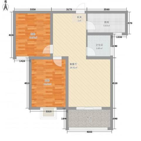 东城华庭2室1厅1卫1厨85.00㎡户型图