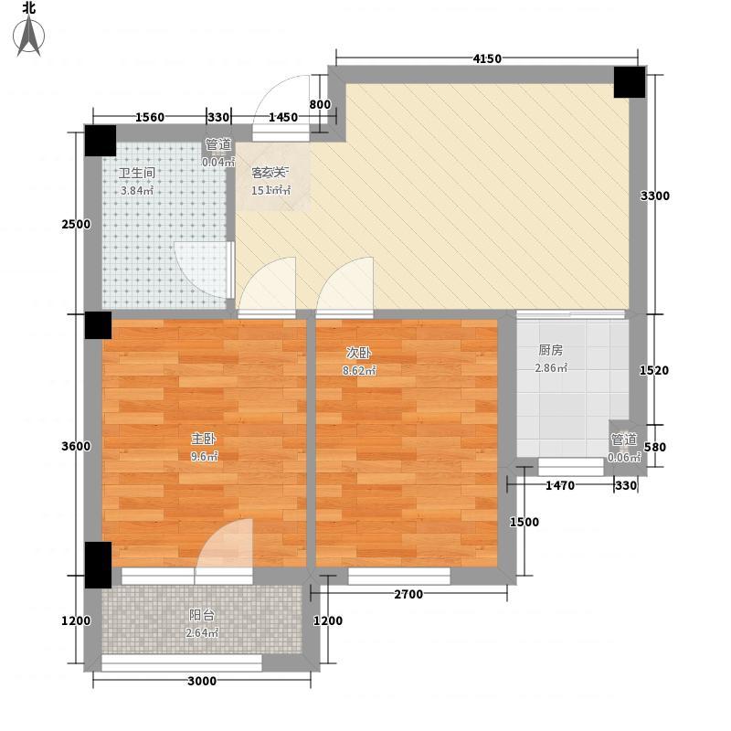 亿诚御景湾2室1厅1卫1厨58.00㎡户型图