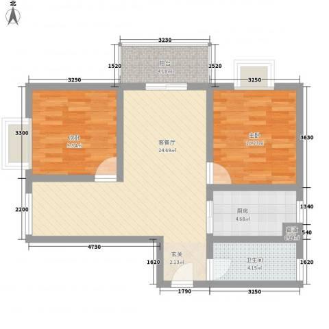 悦西湖・泊悦2室1厅1卫1厨92.00㎡户型图