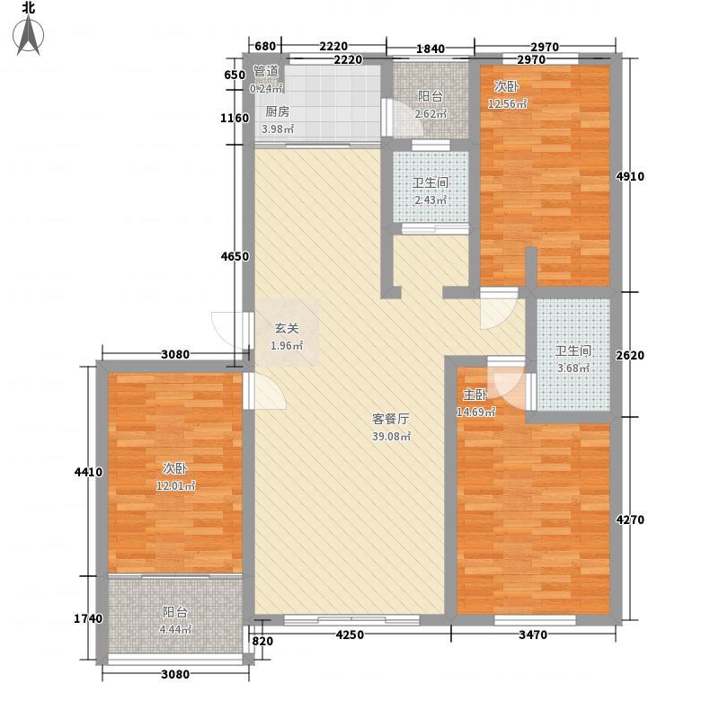 优胜美地136.30㎡二期多层22#楼B户型3室2厅2卫1厨